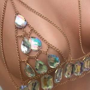 Iridescent rave bikini crystal gold chain bra top
